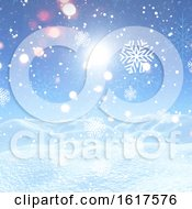 Poster, Art Print Of Christmas Background With Snowflakes And Snow