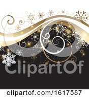 Poster, Art Print Of Winter Snowflake And Swirl Background
