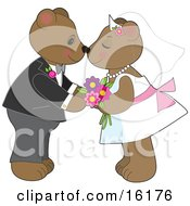 Cute Teddy Bear Bride And Groom Couple Kissing And Rubbing Noses At Their Wedding Clipart Illustration Image by Maria Bell