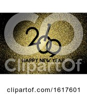 Gold Glitter Happy New Year Background