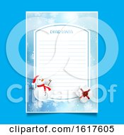Christmas Letter To Santa With Snowman And Gift