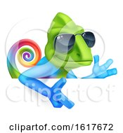 Chameleon Cool Cartoon In Shades Pointing At Sign