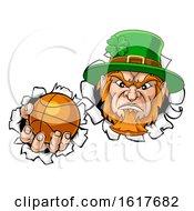 Poster, Art Print Of Leprechaun Basketball Mascot Ripping Background