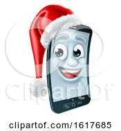 Cell Mobile Phone Christmas Mascot In Santa Hat