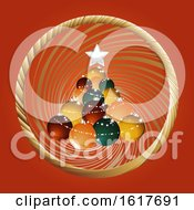 Christmas Baubles Tree And Golden Border On Red