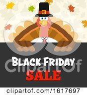 Black Friday Sale Shopping Pilgrim Turkey Bird Over A Sign