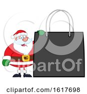 Black Friday Christmas Shopping Bag With Santa Claus