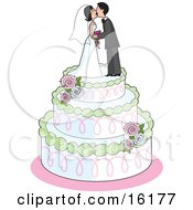 Sweet Bride And Groom Kissing On Top Of A Three Tiered White Wedding Cake With Green Trim Pink Swirls White Frosting And Pink And White Roses