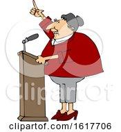 Cartoon White Female Politician At A Podium