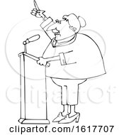 Cartoon Black And White Female Politician At A Podium