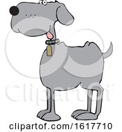 Cartoon Happy Gray Dog by djart