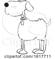 Cartoon Happy Black And White Dog