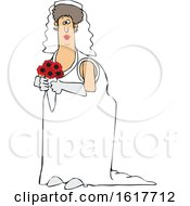 Poster, Art Print Of Cartoon White Female Bride Holding A Boquet