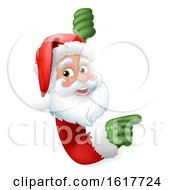 Santa Claus Christmas Cartoon Character Pointing Around A Sign