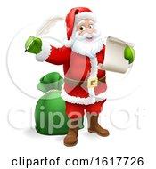Poster, Art Print Of Santa Claus Checking Christmas Gift List Cartoon