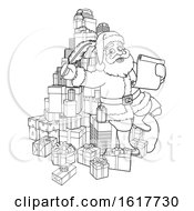 Santa Claus Checking Christmas Gift List Cartoon
