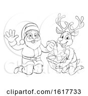 Santa And His Reindeer Opening Christmas Gift