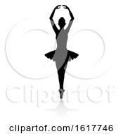 Poster, Art Print Of Ballet Dancer Silhouette Set On A White Background