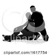 Young Couple People Silhouette On A White Background