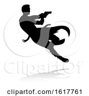 Action Movie Shoot Out Person Silhouette On A White Background by AtStockIllustration