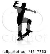 Silhouette Skater Skateboarder On A White Background by AtStockIllustration