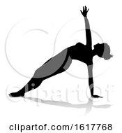 Yoga Pilates Pose Woman Silhouette On A White Background