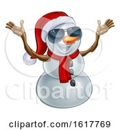Happy Snowman Wearing A Santa Hat And Sunglasses