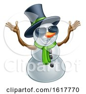 Happy Snowman Wearing A Top Hat And Sunglasses