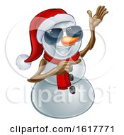 Pointing Snowman Wearing A Santa Hat And Sunglasses