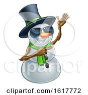 Pointing Snowman Wearing A Top Hat And Sunglasses