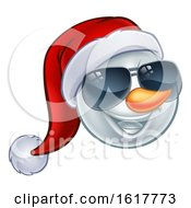 Cool Christmas Snowman Santa Hat Sunglasses Emoji by AtStockIllustration
