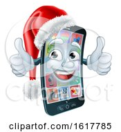 Mobile Cell Phone Christmas Mascot In Santa Hat