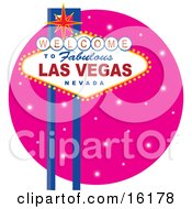 Welcome To Fabulous Las Vegas Nevada Sign Against A Pink Starry Night Clipart Illustration Image by Maria Bell #COLLC16178-0034