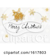 Merry Christmas Greeting With Glittery Snowflakes And Bells