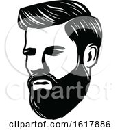 Black And White Mans Face With A Beard And Mustache by Vector Tradition SM