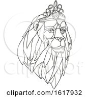 Lion Wearing Tiara Mosaic Black And White