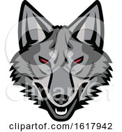 Gray Coyote Mascot Head With Red Eyes