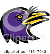 Purple American Crow Mascot Head