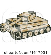 Camouflaged Panzer Battle Tank Aiming Its Cannon