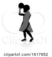 Poster, Art Print Of Child Silhouette On A White Background
