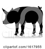 Pig Silhouette Farm Animal On A White Background