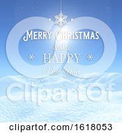 Poster, Art Print Of 3d Christmas Background With Snowy Landscape With Decorative Text