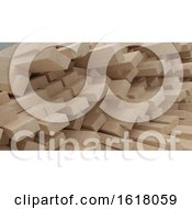 Render Of 3D Construction Timber Beams And Planks