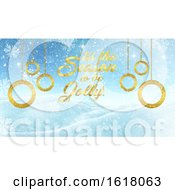 3D Christmas Background With Gold Text And Decorations