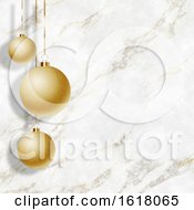 Christmas Baubles On An Elegant Marble Texture