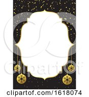 Christmas Border Menu Or Background With Confetti And Baubles Design