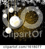 Christmas Background With Hanging Babules On Glittery Gold Design