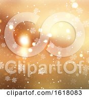 Golden Christmas Background With Snowflakes And Snow