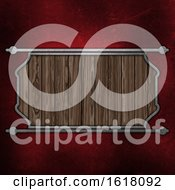 Grunge Wooden Plaque On Red Stratched Metal Background