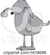 Cartoon Punctual Dog Checking Time On His Wrist Watch